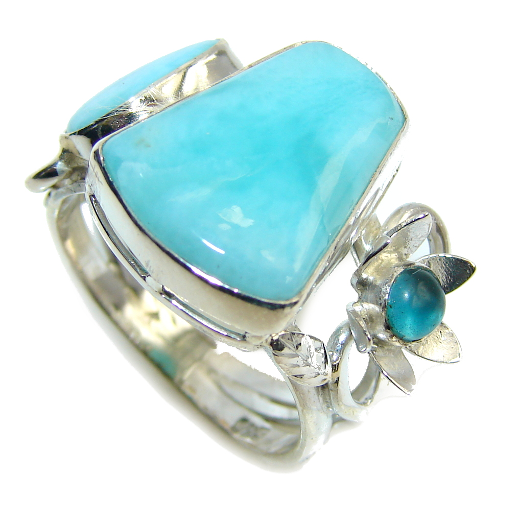 Amazing AAA Blue Larimar Sterling Silver Ring s. 9 1/4