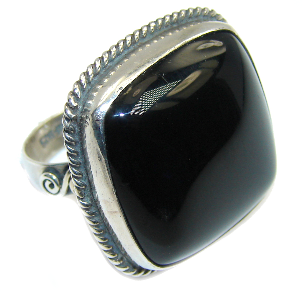 Amazing AAA Black Onyx Sterling Silver ring s. 5 1/4