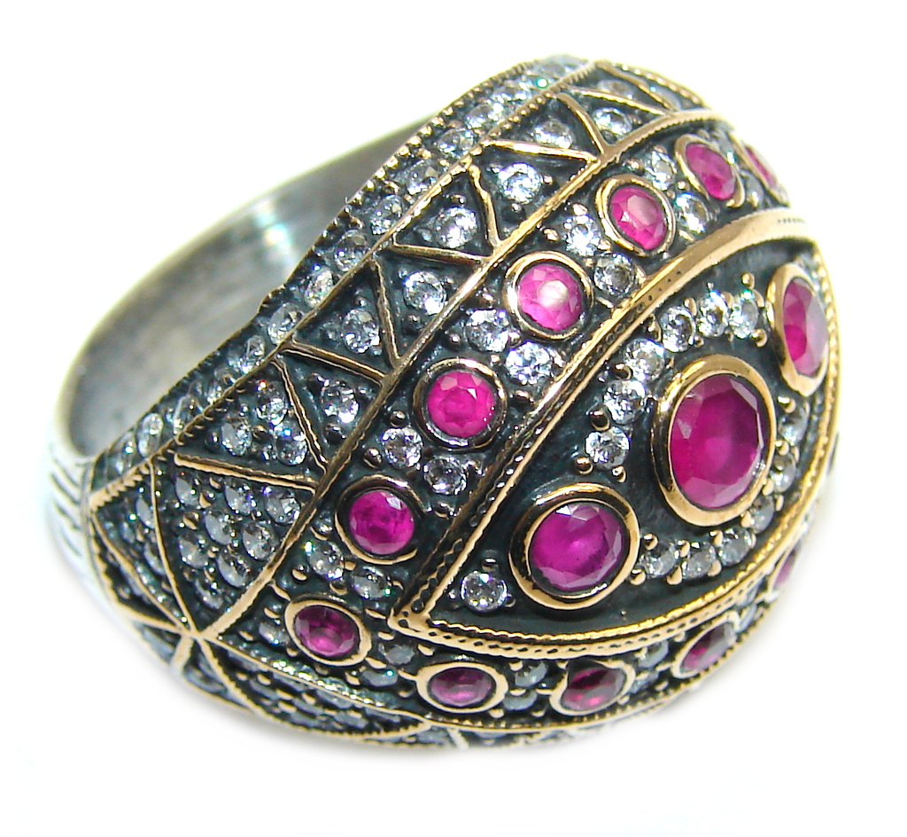 Victorian Style Pink Ruby & White Topaz Sterling Silver Ring s. 7 1/2