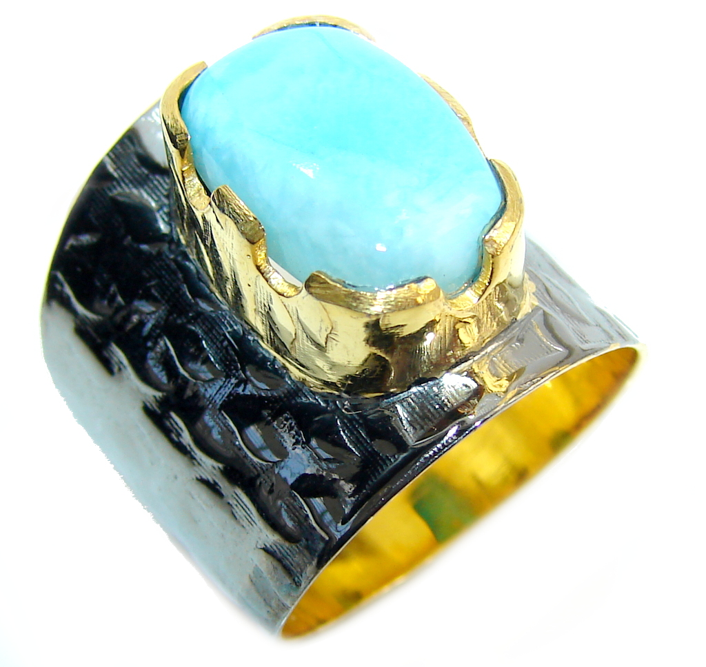 AAA Blue Larimar, Gold Plated , Rhodium Plated Sterling Silver Ring s. 7