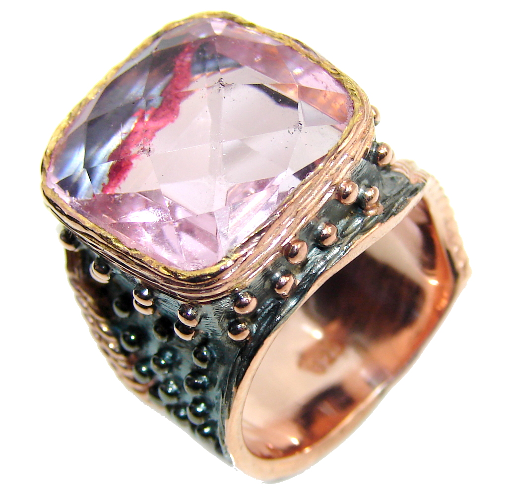 Perfect Created Pink Sapphire, Rose Gold Plated, Rhodium Plated Sterling Silver Ring s. 8