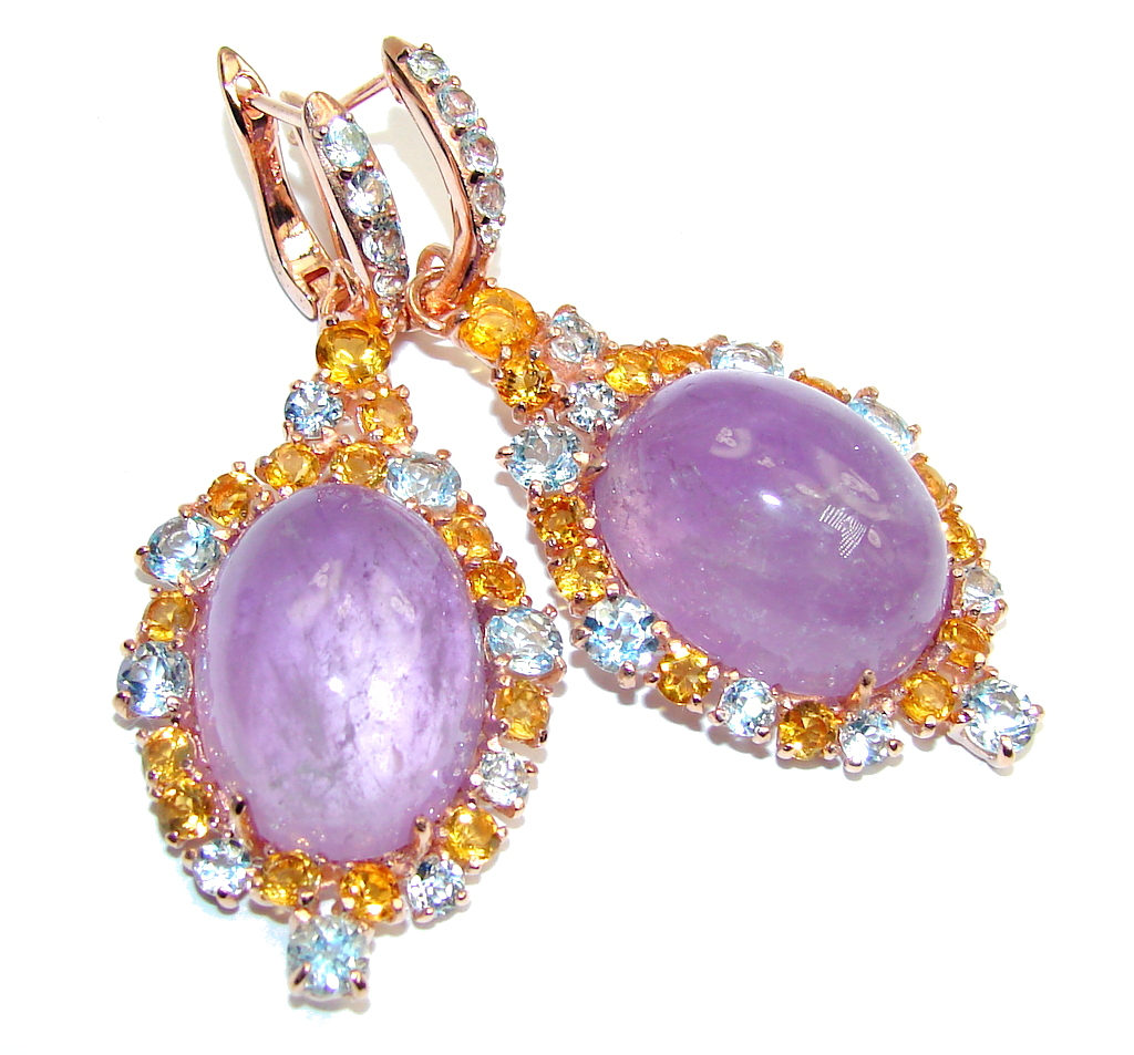 Big! Genuine AAA Purple Amethyst, Rose Gold Plated Sterling Silver earrings