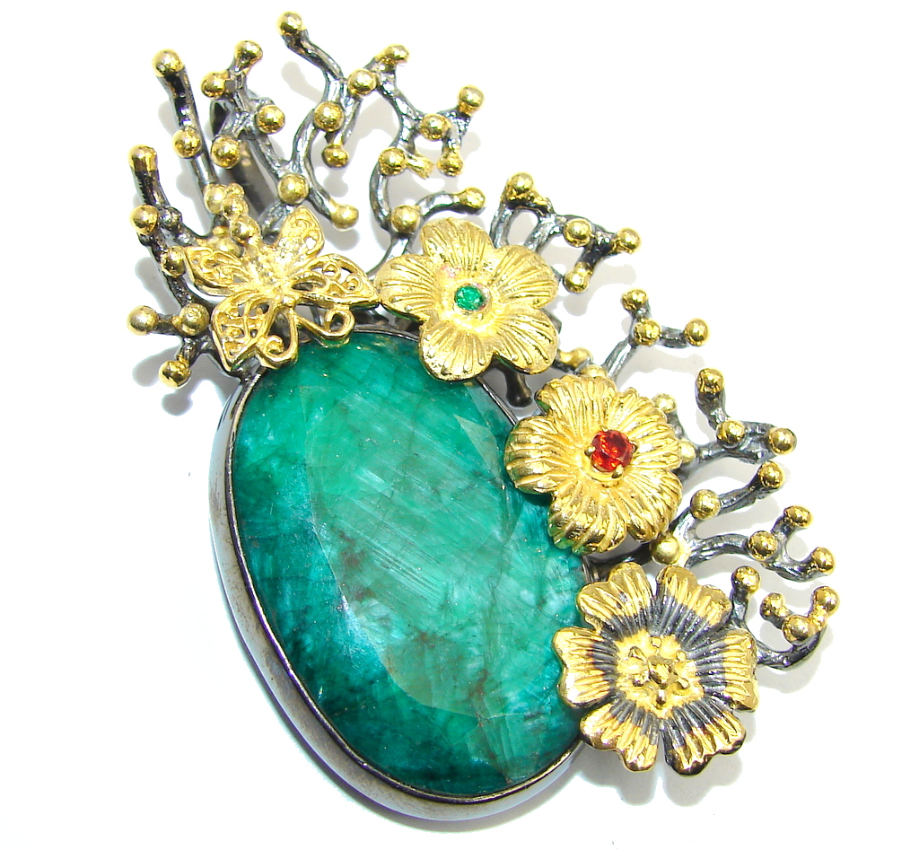 Big! Exclusive AAA Emerald, Gold Plated, Rhodium Plated Sterling Silver Pendant