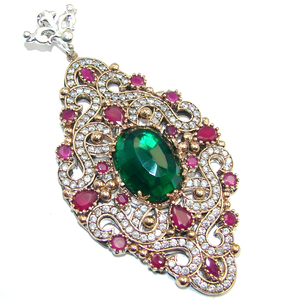 Large! Victorian Style Created Emerald & Ruby & White Topaz Sterling Silver Pendant