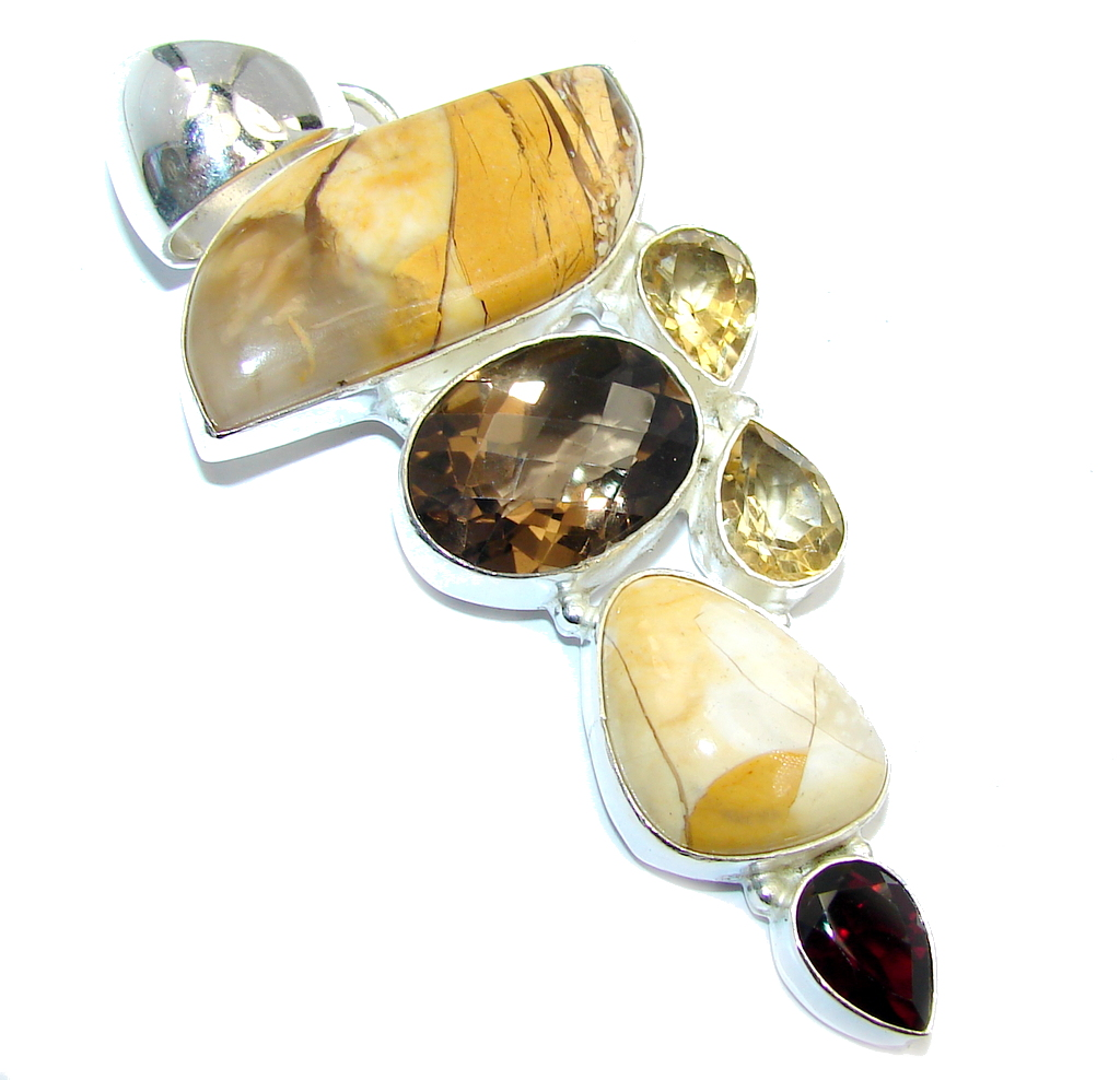Big! Amazing AAA Burro Creek Jasper & Citrine & Smoky Topaz Sterling Silver Pendant