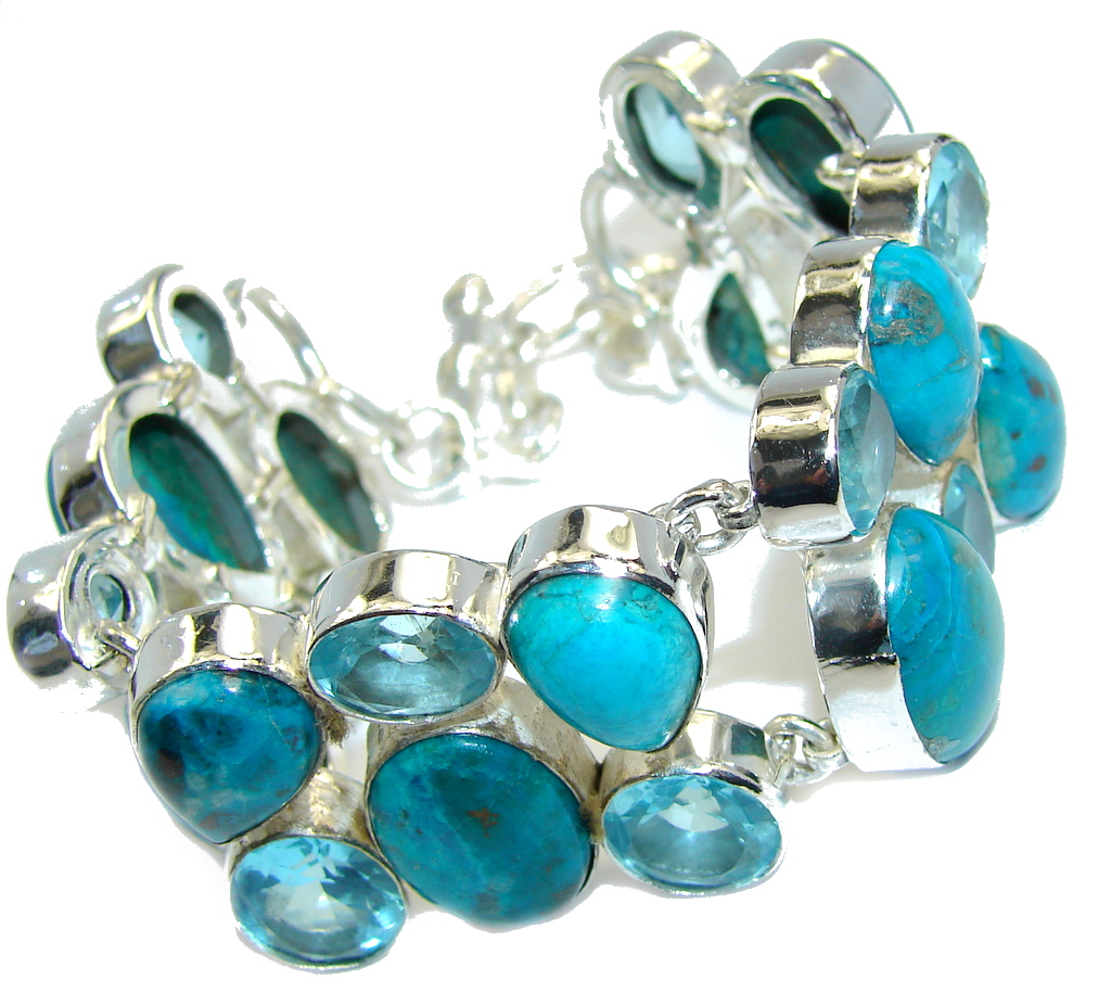 Perfect! Parrot Wing Chrysocolla & Created Blue Quartz Sterling Silver Bracelet