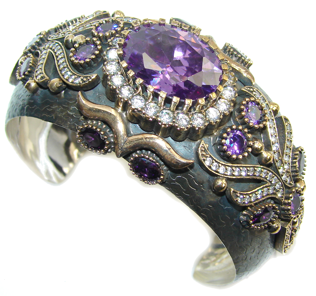 Victorian Style! Created Purple Sapphire & White Topaz Sterling Silver Bracelet / Cuff
