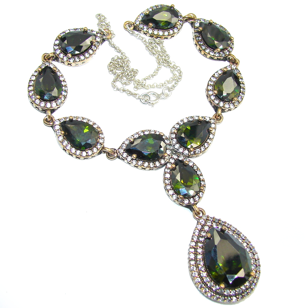 Victorian Style Created Dark Emerald & White Topaz Sterling Silver necklace