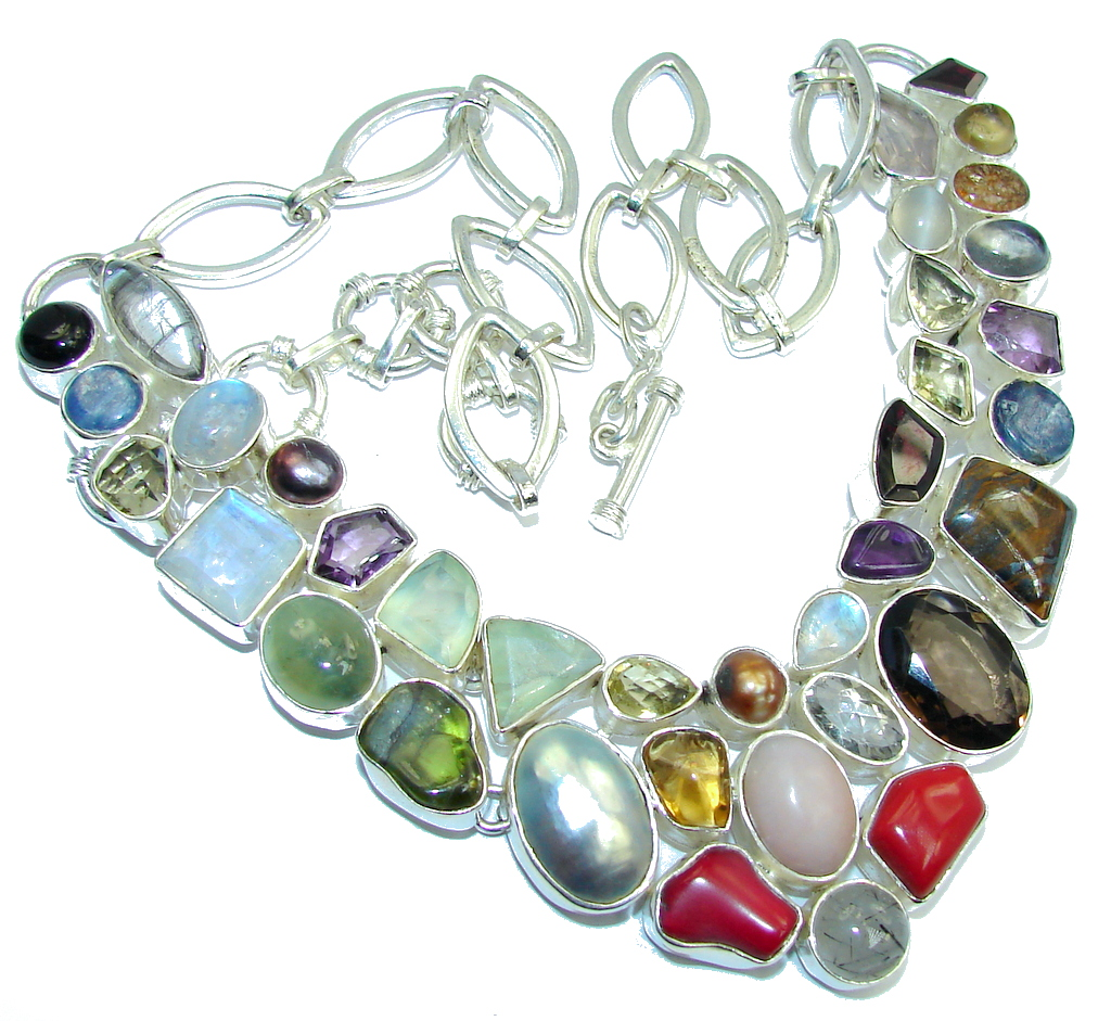 Aura Of Beauty! Secret Multistone Sterling Silver necklace