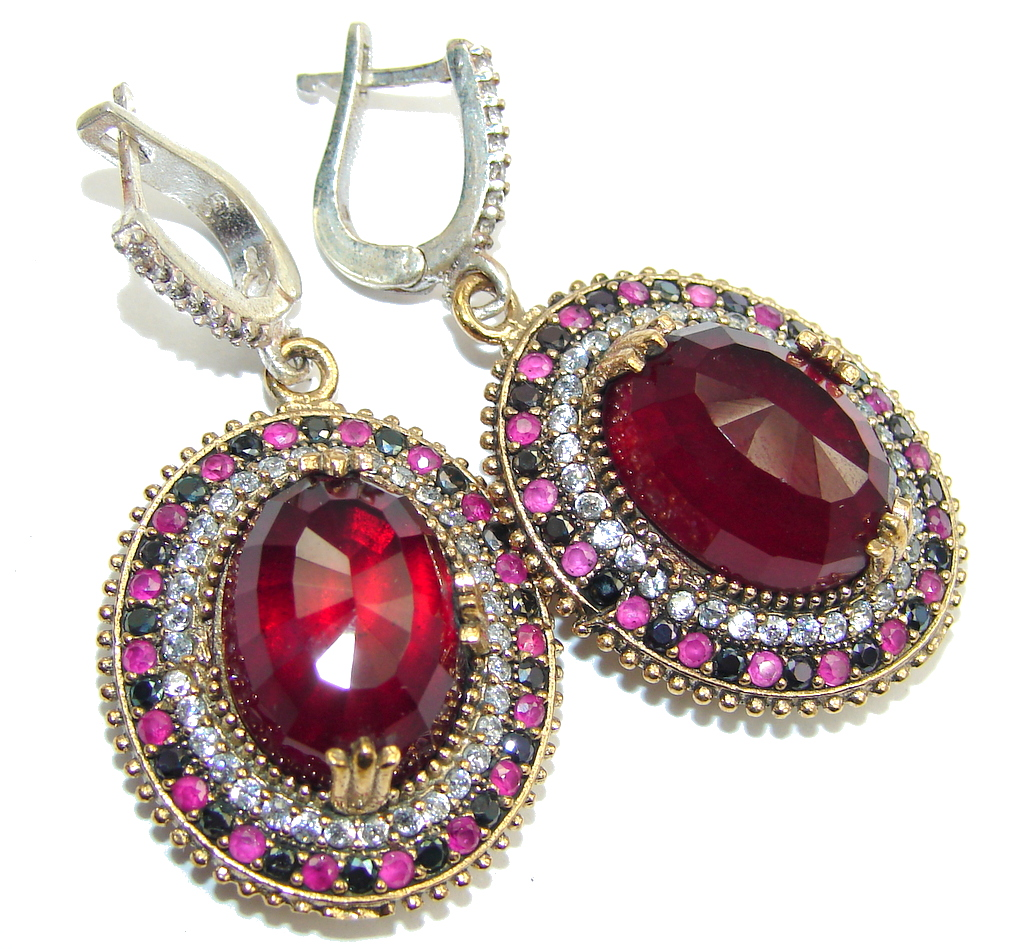 Victorian Style! Garnet Quartz & Ruby & Sapphire & White Topaz Sterling Silver earrings