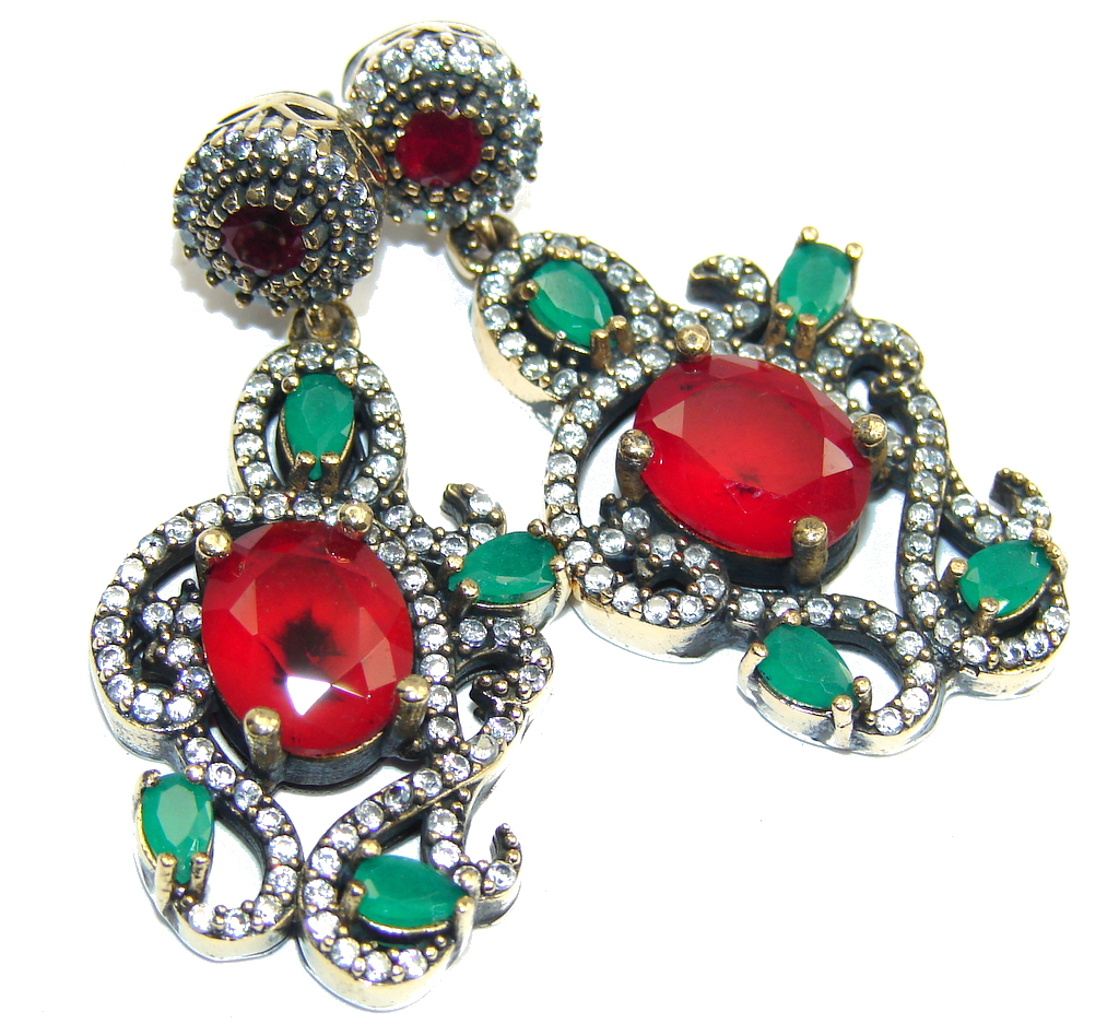 Victorian Style! Red Ruby & Emerald & White Topaz Sterling Silver earrings