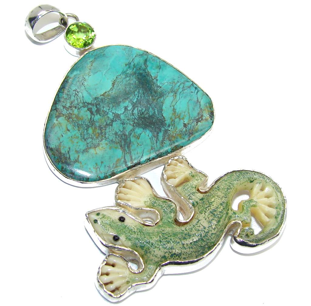 Large! Always Lucky Lizard Fashion Style Blue Turquoise Sterling Silver Pendant