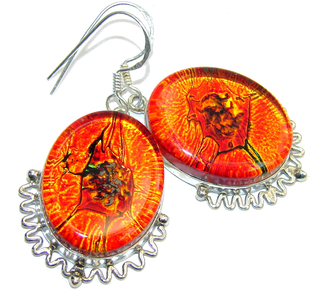 Secret Orange Dichroid Glass Sterling Silver earrings
