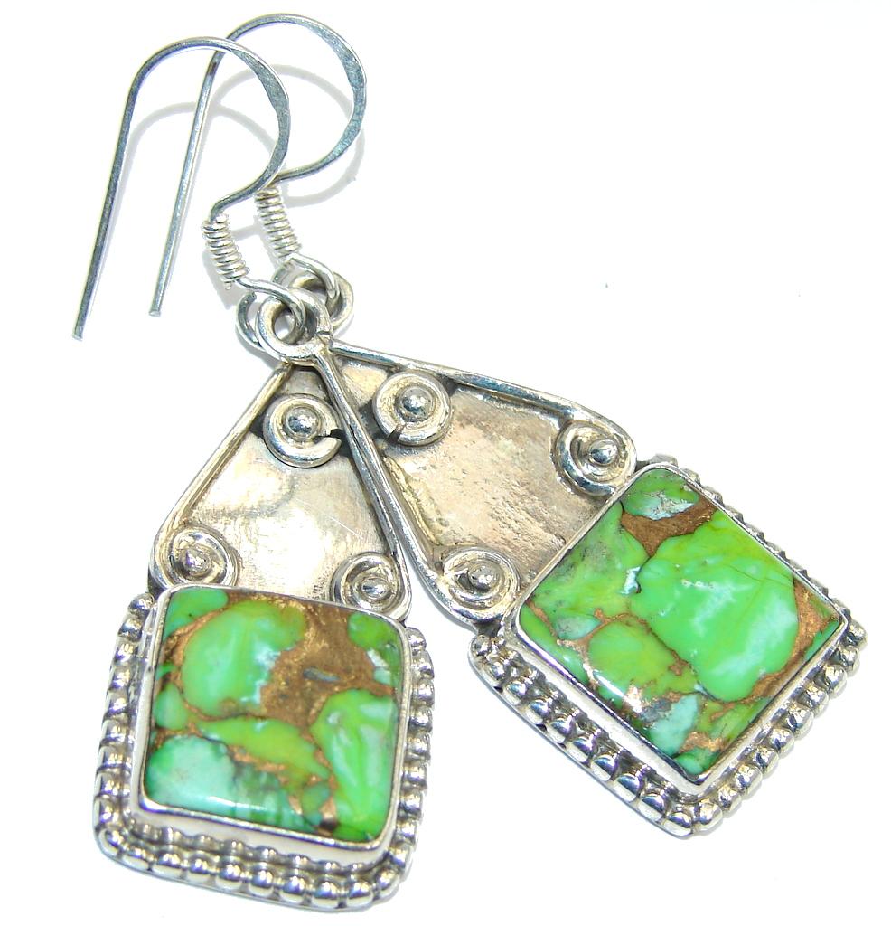 Classic Green Turquoise Sterling Silver earrings