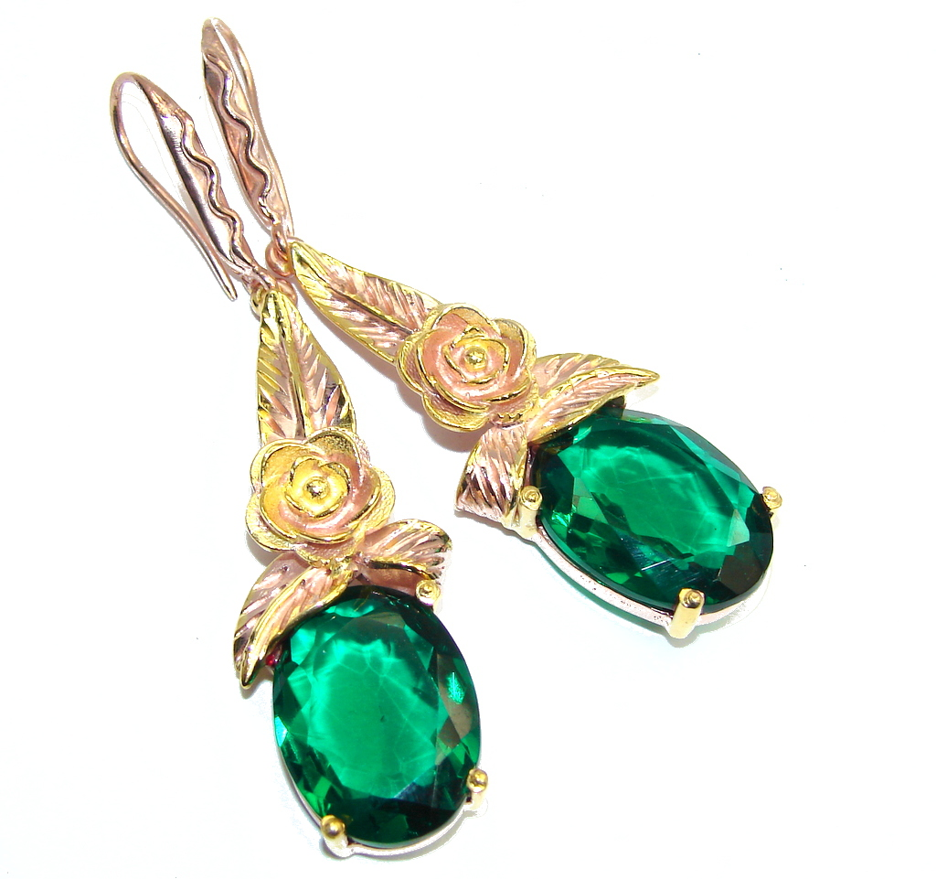 Stunning Created Emerald, Rose & Gold Plated Sterling Silver earrings / Long