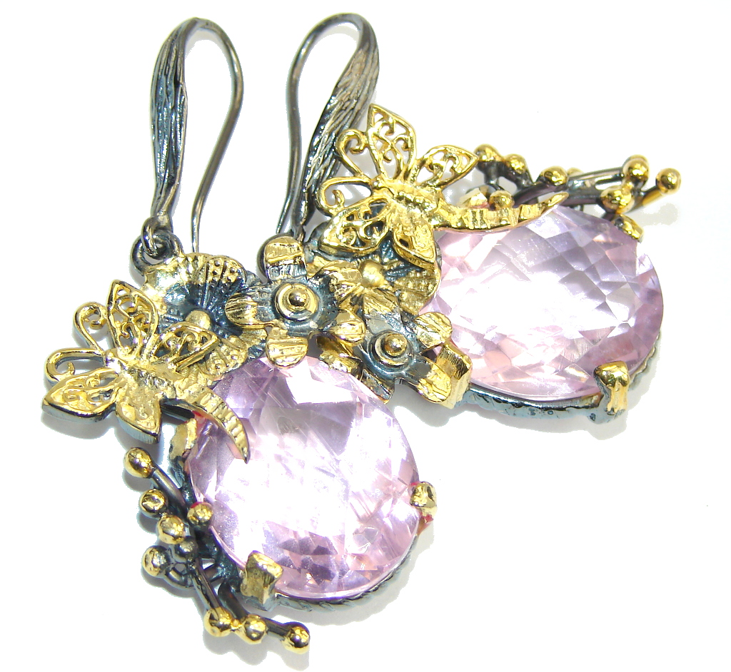 Stunning AAA Created Pink Sapphire, Gold Plated, Rhodium Plated Sterling Silver earrings