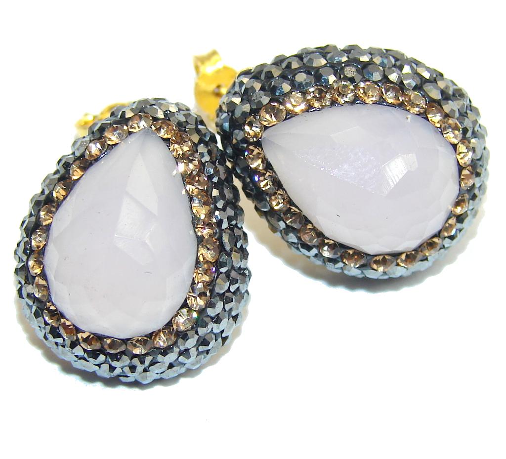 marcassite.com Secret Beauty Light Rose Quartz & Citrine Sterling Silver earrings