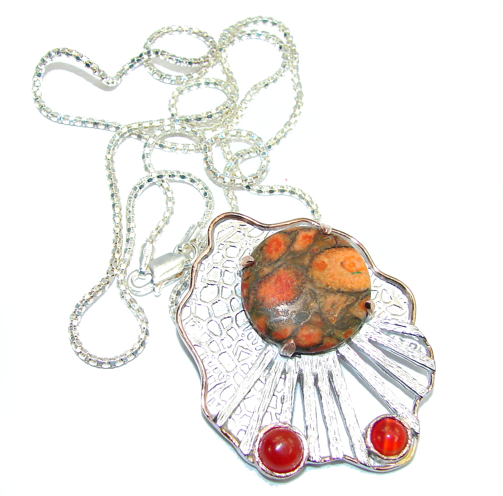 Outstanding Genuine Red Copper Turquoise Sterling Silver necklace