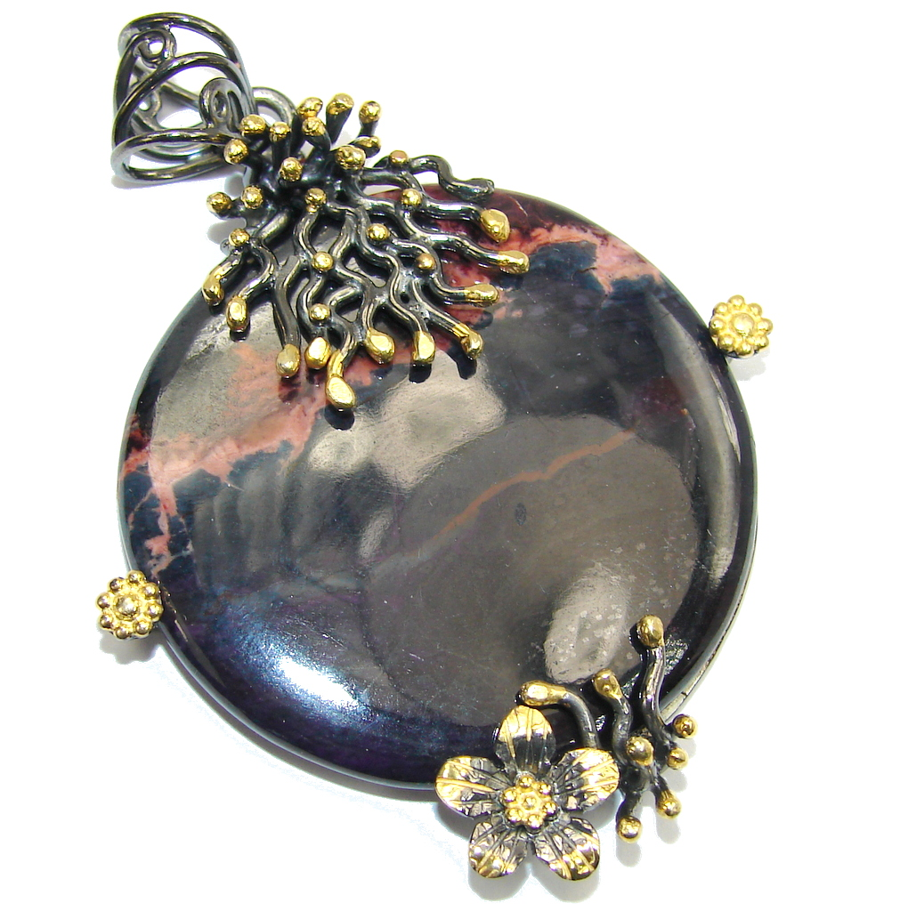Amazing Black Rhodonite Gold plated Sterling Silver Pendant