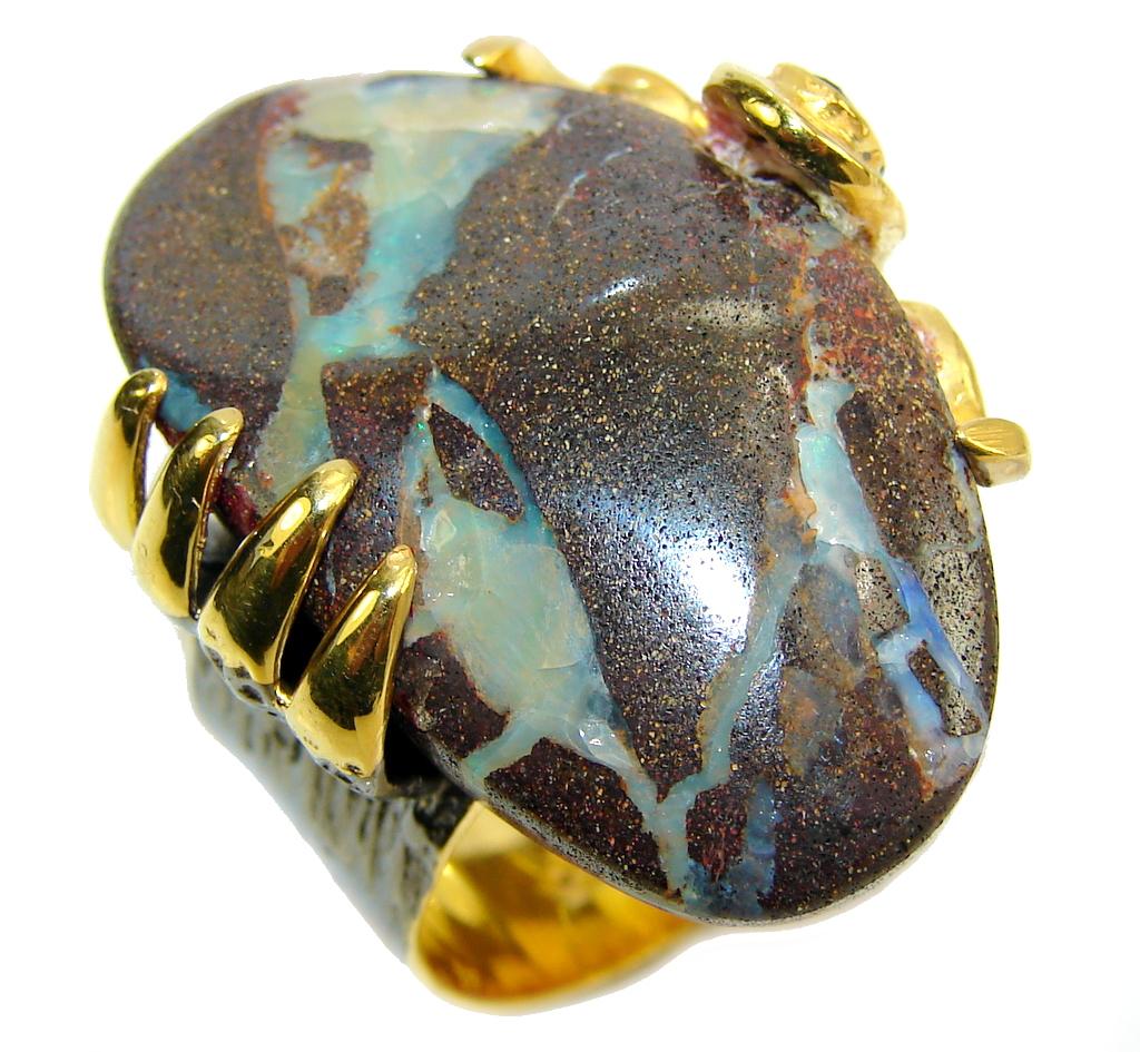 Classic Beauty AAA Australian Boulder Opal Sterling Silver Ring s. 8