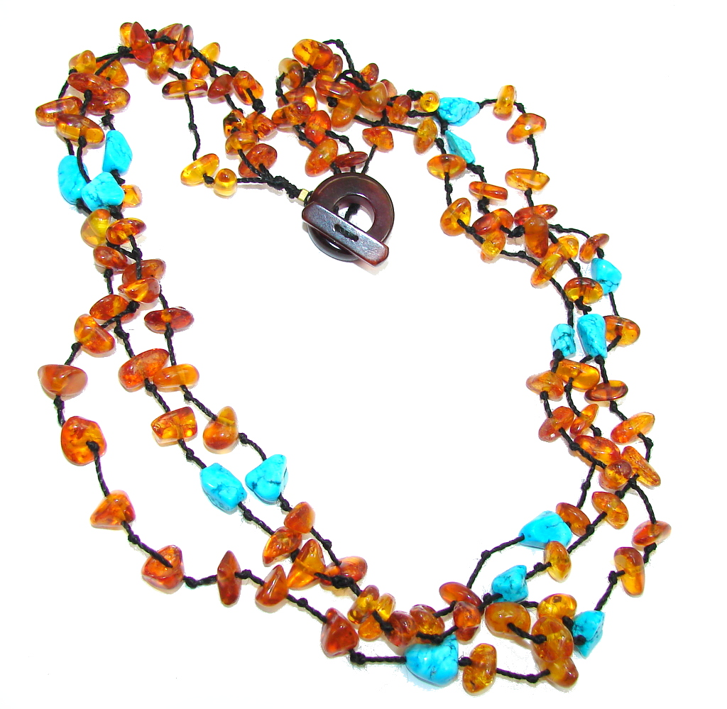 Fabulous Natural Baltic Amber Slepping Beauty Turquoise Necklace