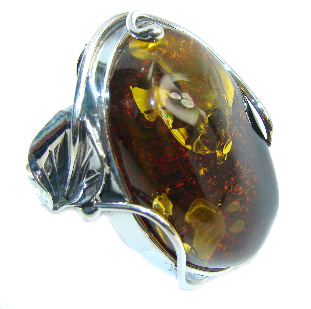 Big! Genuine AAA Brown Polish Amber Sterling Silver Ring s. 7 1/2