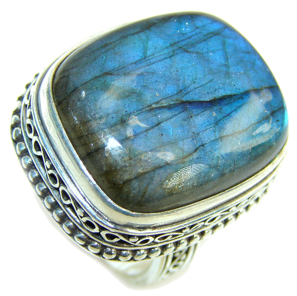 Big! Perfect Blue Fire Labradorite Sterling Silver ring s. 9