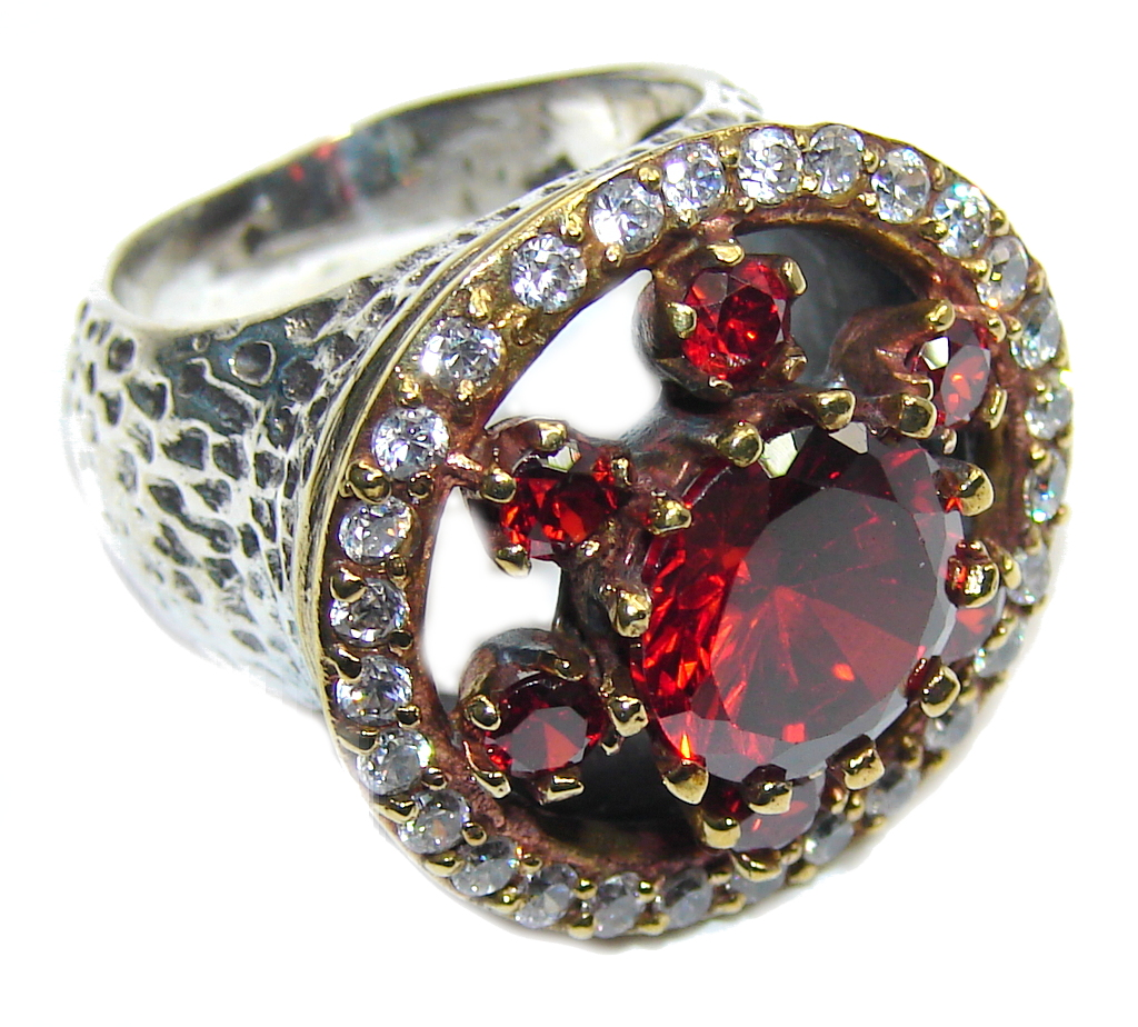Victorian Style! Created Garnet & White Topaz Sterling Silver Ring s. 6 1/4