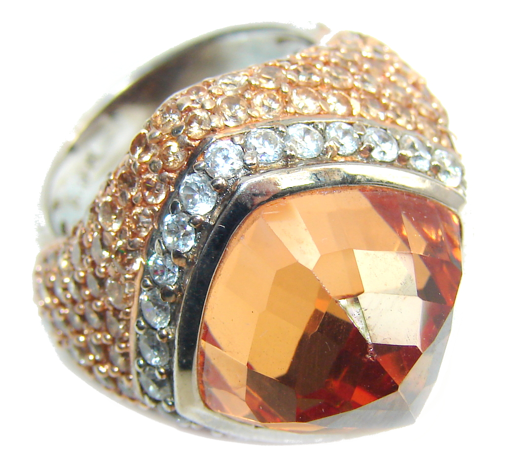 Big! Very Beautiful Created Golden Topaz & White Topaz Sterling Silver ring