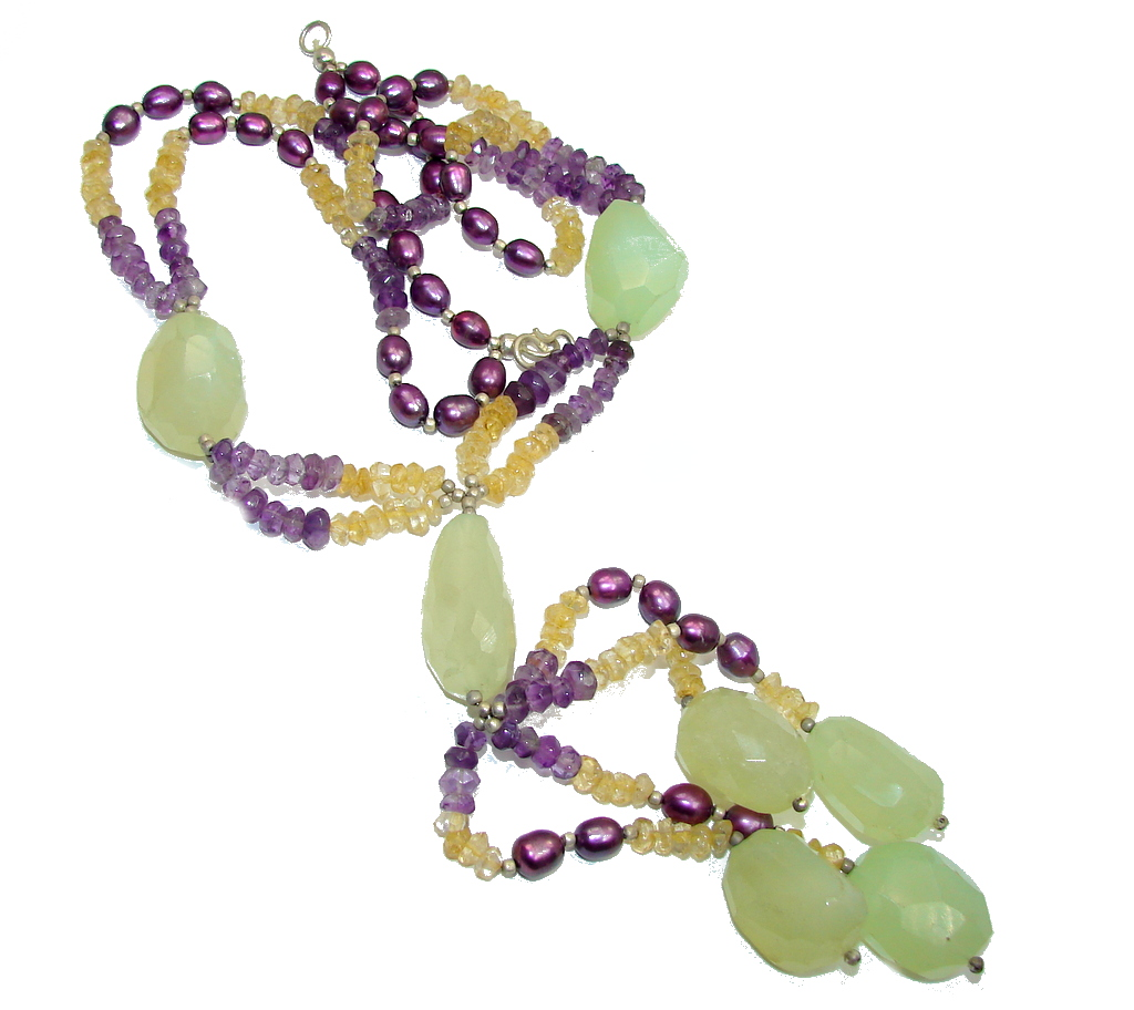 Big! Tropical Beauty AAA Green Moss Prehnite & Amethyst & Citrine & Blister Pearl Sterling Silver necklace