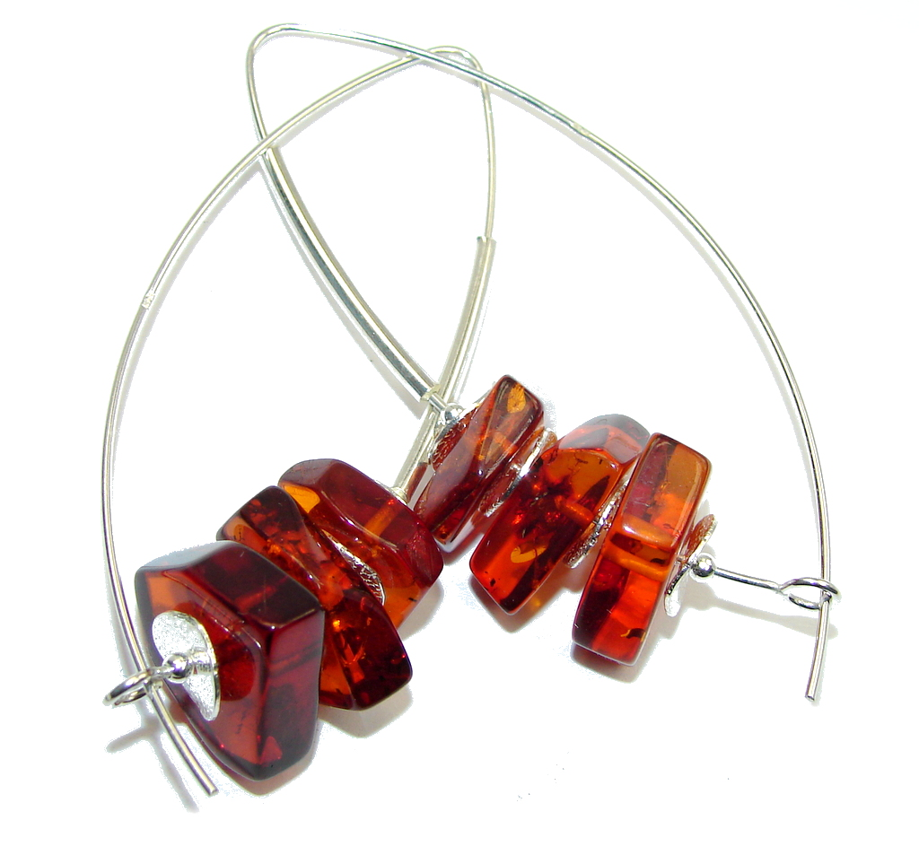 Big! Fashion Beauty Baltic Polish Amber Sterling Silver Earrings