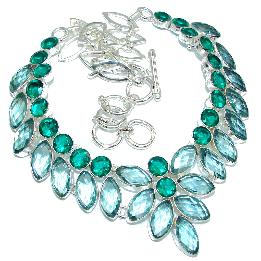 Island Beauty Created Green Amethyst & Created Emerald Sterling Silver necklace