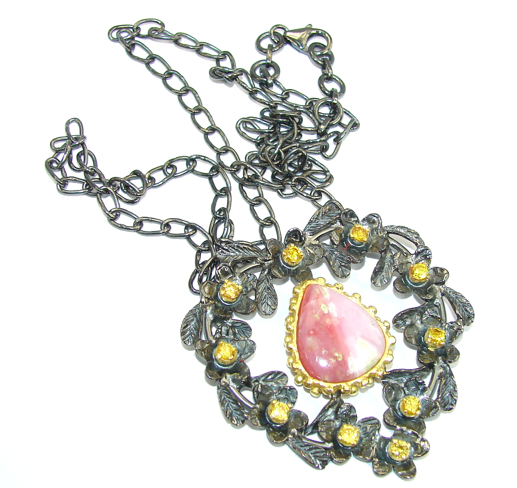 Calling a new love into one's life Pink Rhodochrosite, Gold Plated, Rhodium Plated Sterling Silver necklace