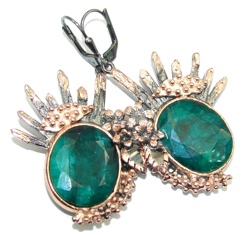 Stunning AAA Emerald, Rose Gold Plated, Rhodium Plated Sterling Silver earrings