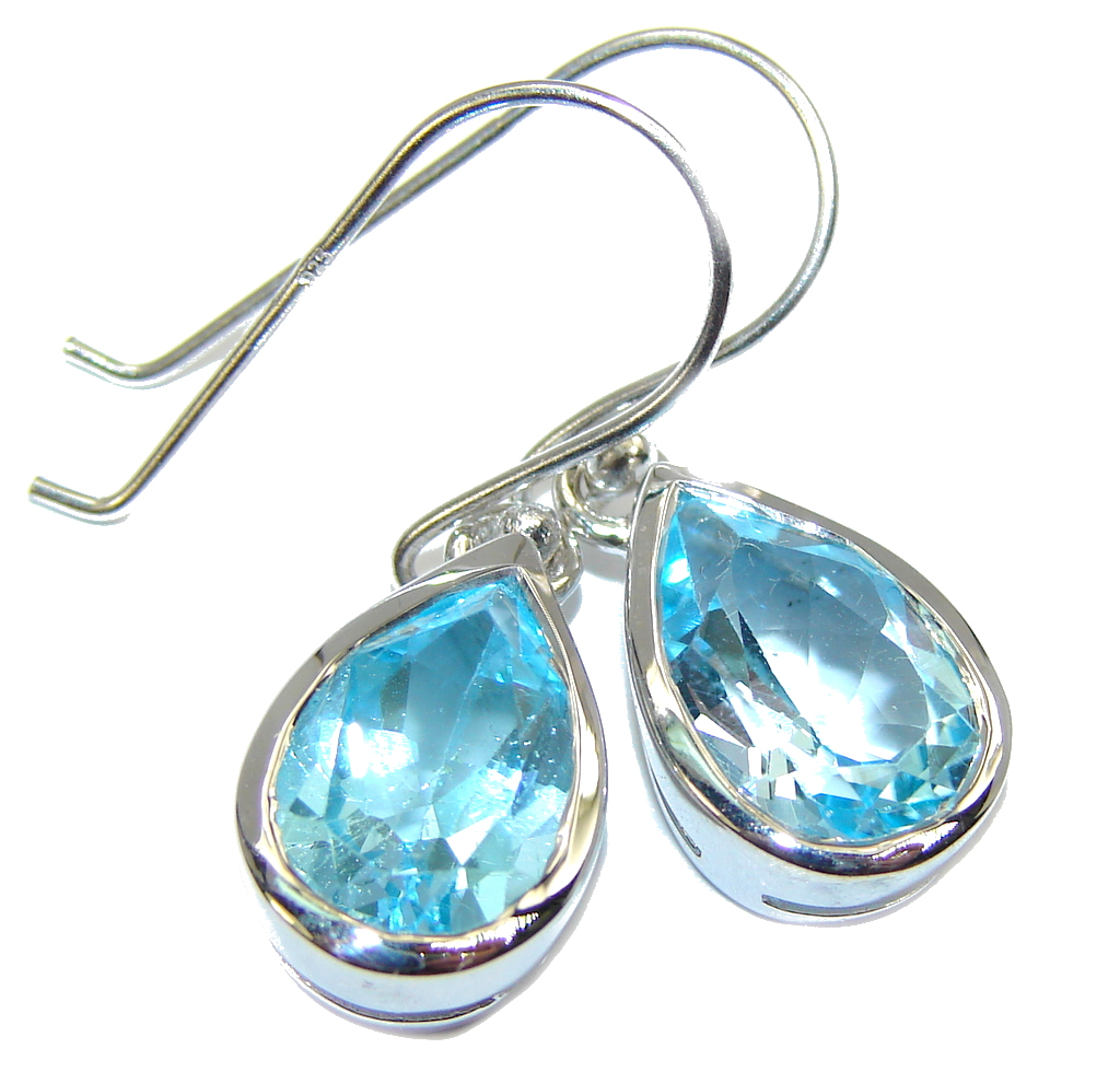 Amaizng AAA Blue Topaz Sterling Silver earrings