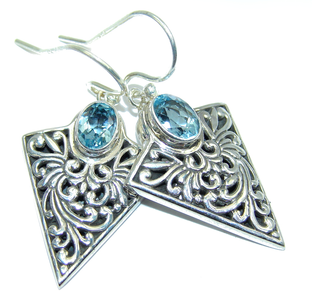 Bali Style AAA Blue Topaz Sterling Silver earrings