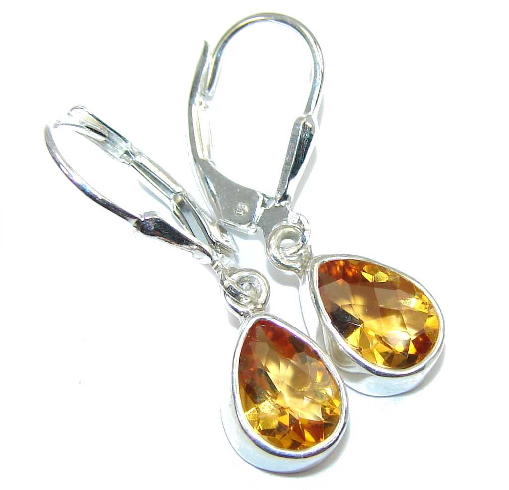 Petite AAA Yellow Citrine Sterling Silver Earrings