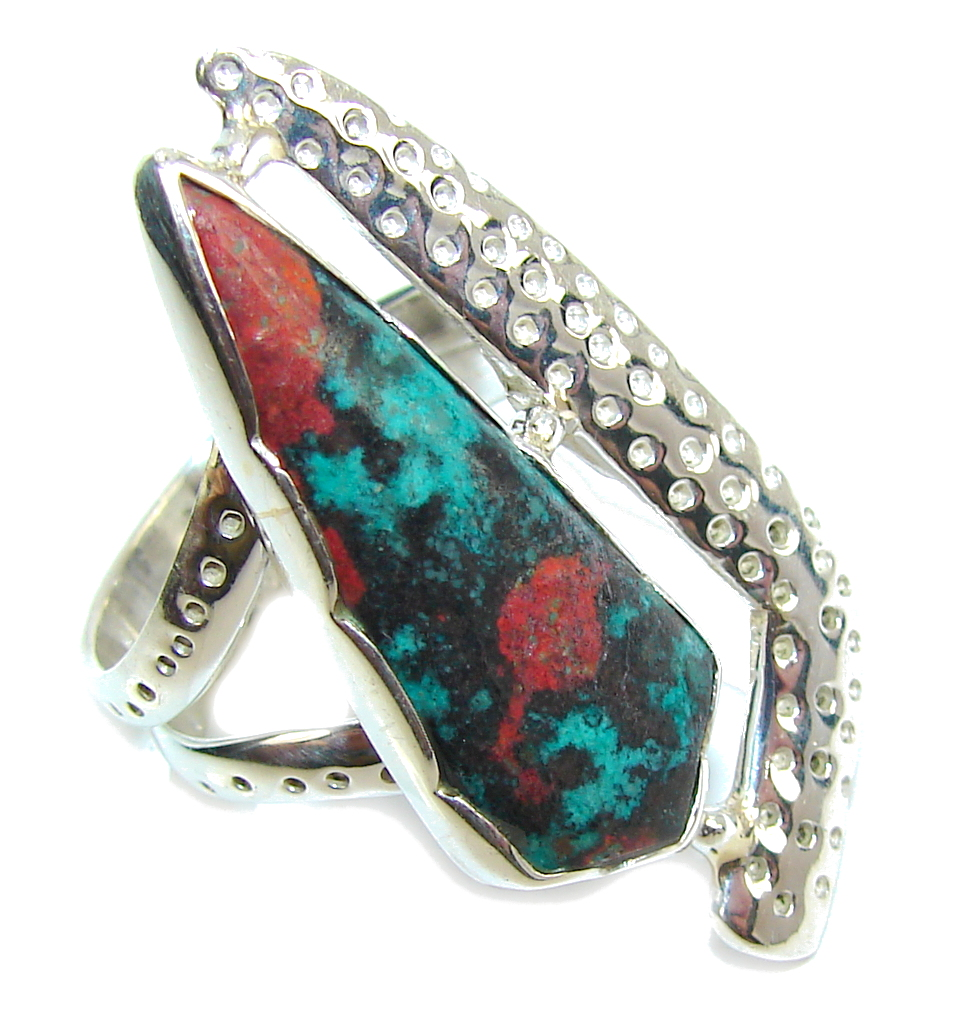 Amazing Red Sonora Jasper Sterling Silver Ring s. 7