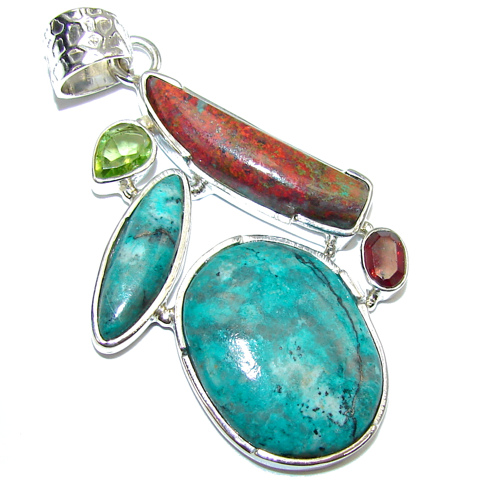 Excellent Red Sonora Jasper & Garnet & Peridot Sterling Silver Pendant