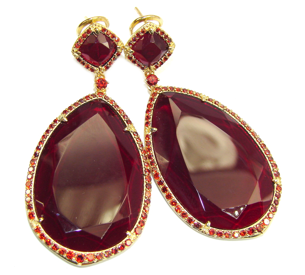 Large! Stunning Creatred Red Ruby & Garnet, Gold Plated Sterling Silver earrings