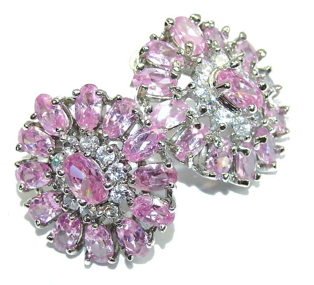 Amazing Created Pink Sapphire & White Topaz Sterling Silver earrings
