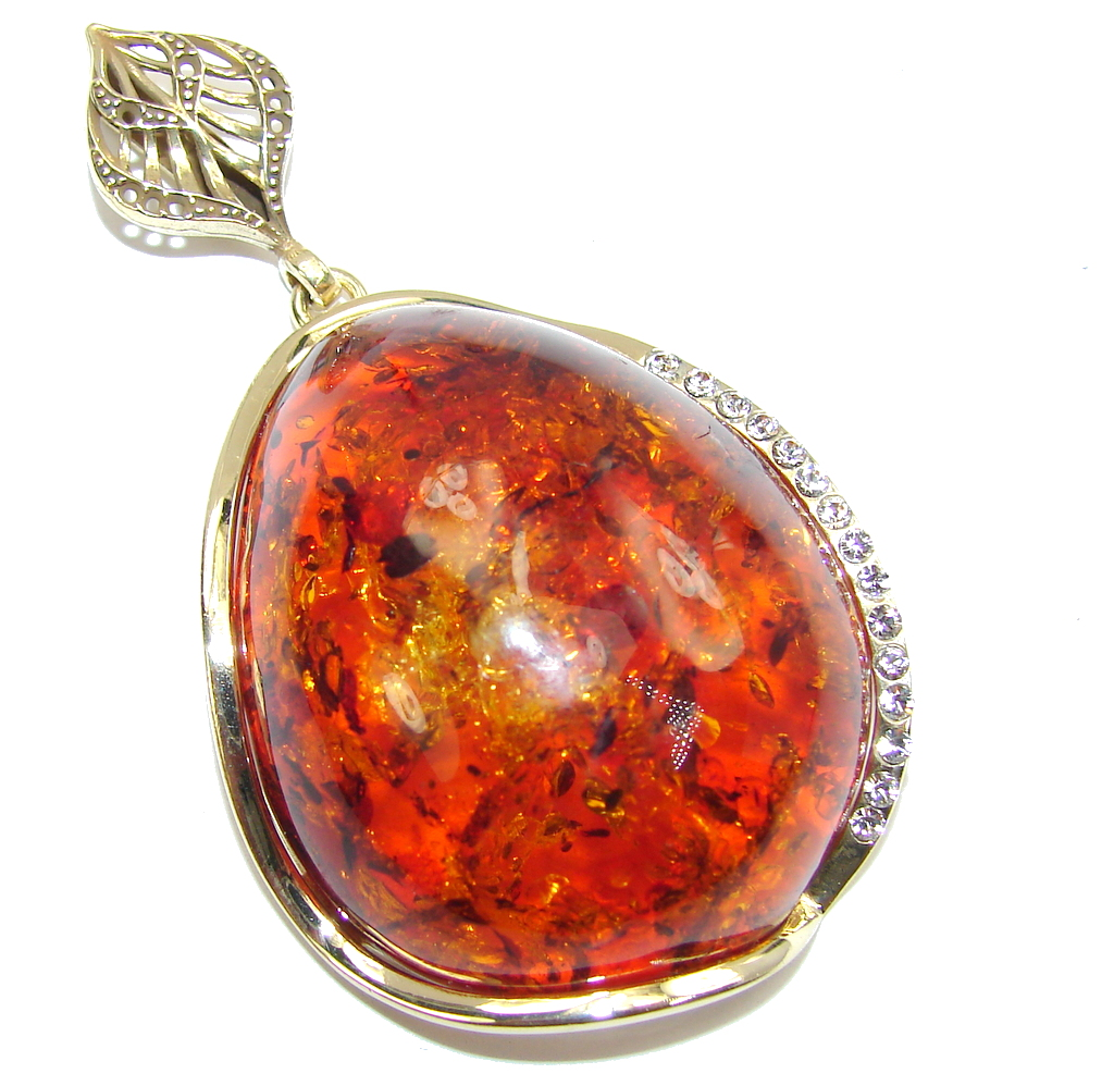 Big! Gorgeous Design AAA Baltic Polish Amber & White Topaz, Gold Plated Sterling Silver Pendant