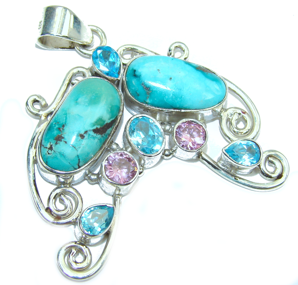 Bali Secret Blue Turquoise Sterling Silver Pendant