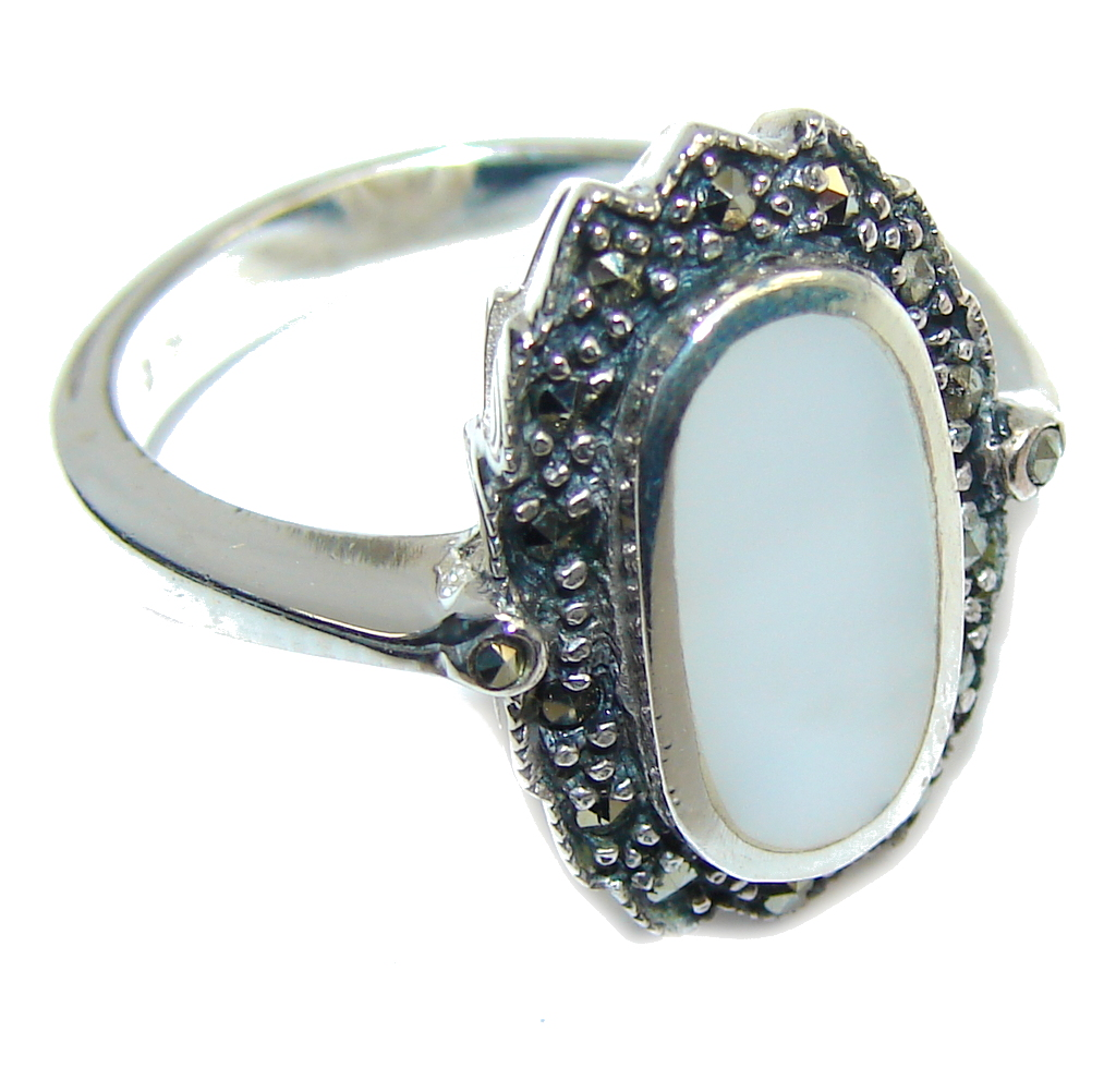 marcassite.com Delicate Blister Pearl Sterling Silver Ring s. 6 1/2