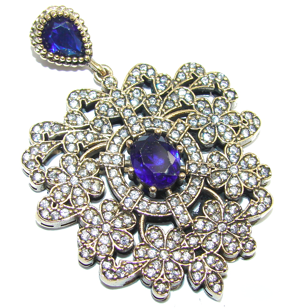 Victorian Style Created Sapphire Sterling Silver Pendant