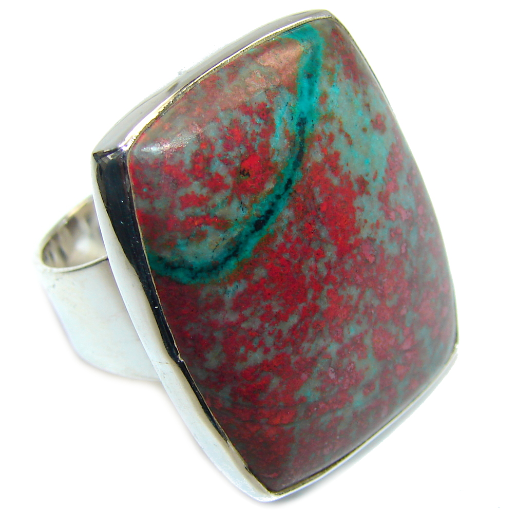 Amazing Red Sonora Jasper  Sterling Silver Ring s. 8