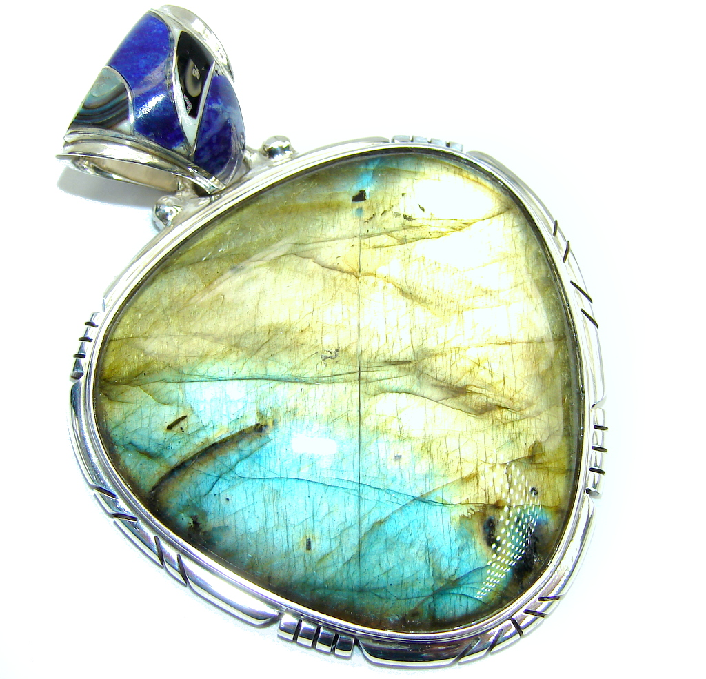 Gorgeous AAA Blue Fire Labradorite Sterling Silver Pendant
