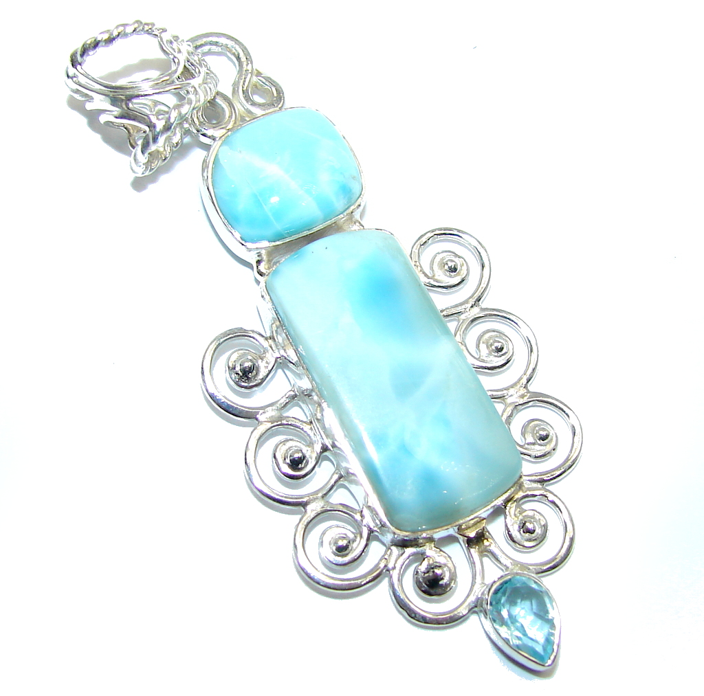 Majestic Azure Larimar Pearl Moonstone Sterling Silver Pendant
