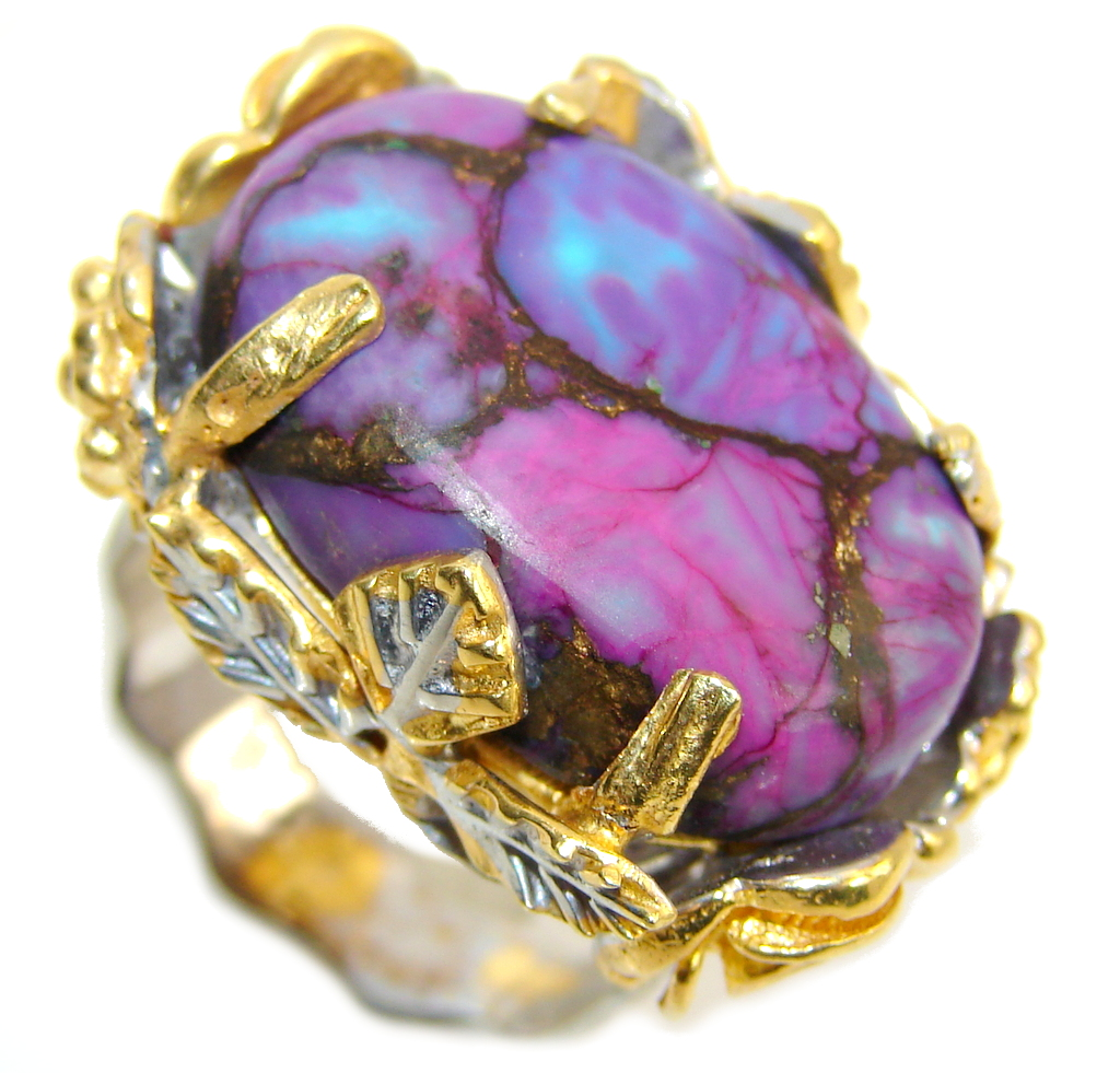 Amazing Copper Purple Turquoise, Two Tones Sterling Silver Ring s. 8