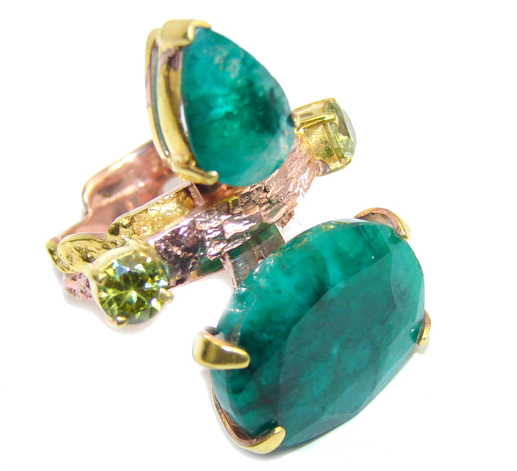 Big! Beautiful AAA Green Emerald, Rose & Gold Plated Sterling Silver Ring s. 7 1/4